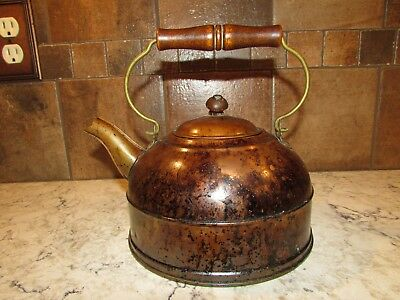 Vintage Revere Ware Copper Kettle Tea Pot Rome NY with Wood Handle - 2 QT