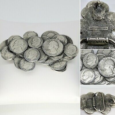 "Vintage Unique GREAT AMERICAN BUCKLE CO USA Coin Silver Metal 3.5"" Belt Buckle"