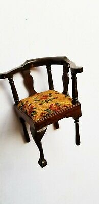 Vintage~Sonia Messor Walnut Corner Chair With Very Fine Needlepoint Upholstry
