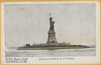 """New York City, Statue of Liberty-""""ZENO Means Good Chewing Gum"""", Advertising Card"""