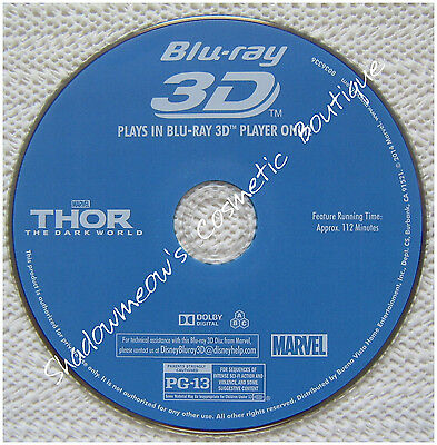 2013 Thor 2 The Dark World 3D Blu-ray No Case Unwatched