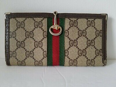 f98d1a78efad Authentic Gucci Gg Monogram Vintage Brown Checkbook Cover /Wallet Gucci  Stripe