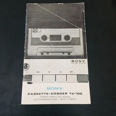 Sony TC-100 Original Cassette-Corder Owners Instruction Manual