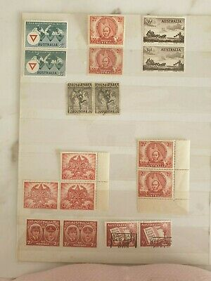 Australia pre-decimal bulk stamp block sets of joined pairs. Scarce varieties