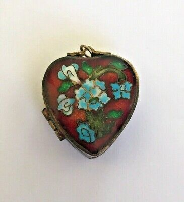 Antique Enamel Heart LOCKET Charm Pendant Painted Blue Flowers Green Leaves