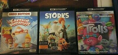 4K UHD LOT, Captain Underpants, Storks, Trolls, Ultra HD, Blu-ray