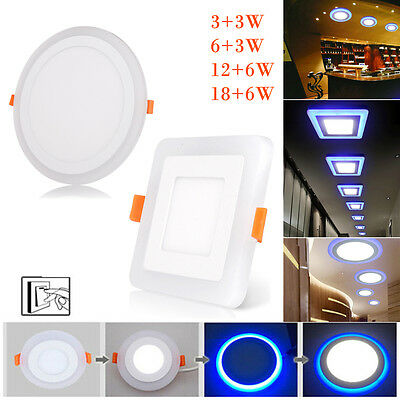 White RGB Dual Color LED Ceiling Light Fans Recessed Panel Downlight Spot Lamp