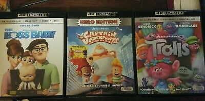 4K UHD LOT, The Boss Baby, Captain Underpants, Trolls, Ultra HD, Blu-ray