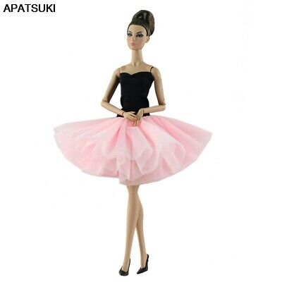 Pink Black Short Ballet Dress For 1/6 Doll Clothes Evening Dress For 11.5in Doll