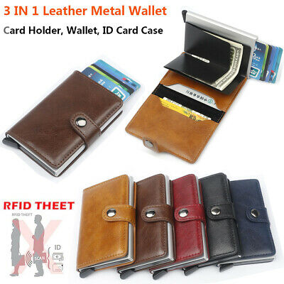 Auto Credit ID Card Holder Leather RFID Blocking Small Metal Wallet Money Clip