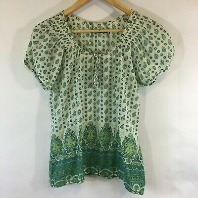 2af28d6c64707 Prana Short Sleeve Womans Medium Paisley Print Shirt Green White Lightweight