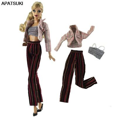 1set Fashion Doll Clothes Coat & Top & Trousers Pants For 1/6 Doll Outfits Toy