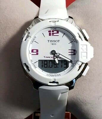 cc3cbdd39d3 Tissot T-Race T-Touch Analog Digital White Rubber Mens Watch T0814201701700