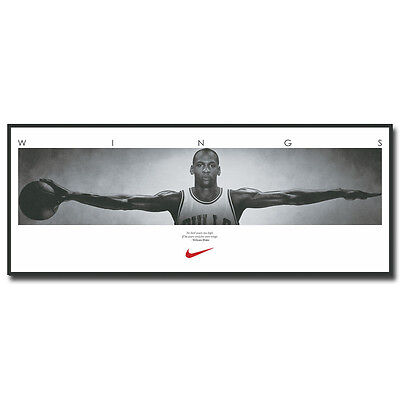Michael Jordan Wings with one Basketball Sport Silk Poster Print Wall 12x38""