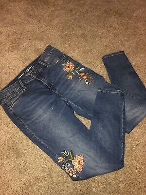 45b47aed ZARA TRAFALUC DENIM Jeans Size 8 Women's Embroidered Rose Destroyed ...