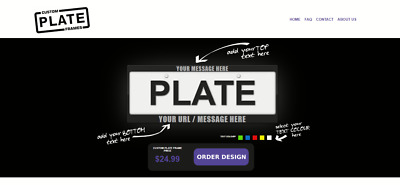 Custom Plate Frames Website Business For Sale