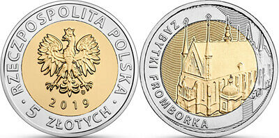 Poland 5 zlotych- 2019 - Monuments of Frombork-bimetal