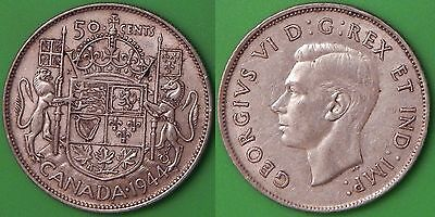 1944 Canada Silver Coat of Arms Half Dollar Graded as Very Fine