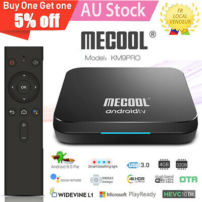 MECOOL KM9 Pro Android 9.0 TV Box 4GB 32GB Voice Search 2.4/5G Wifi Kodi MX10 AU