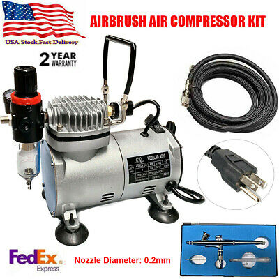 New Beginner Dual-Action AIRBRUSH AIR COMPRESSOR KIT SET Craft Hobby Paint USA