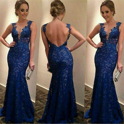 Women Formal Backless wedding Party V-Neck Ball Gown Prom Backless Long Dress