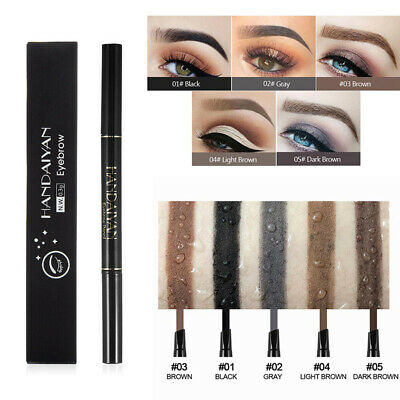 Waterproof Eyebrow Pencil Eyebrow Tattoo Pen Liner Black Dark Brown with Brush