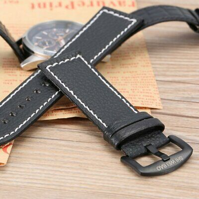 Men PU Leather Military Watch Strap Watch Band Stainless Steel Buckle 24MM 4r
