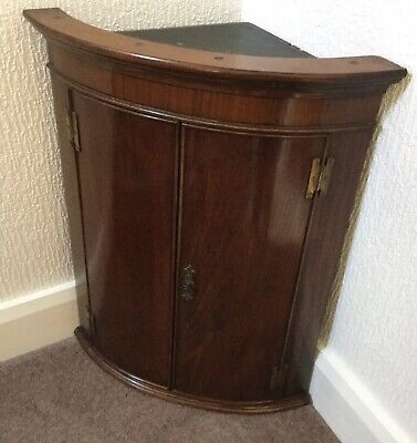 Antique Bow Fronted  Corner Cabinet - Wall Mounted