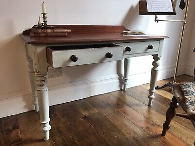 Fabulous Antique Painted & Distressed Victorian Solid Mahogany Side Table / Desk