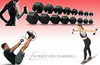 Hex Dumbbells Rubber Encased Solid Set Weights Home Gym Fitness Exercise
