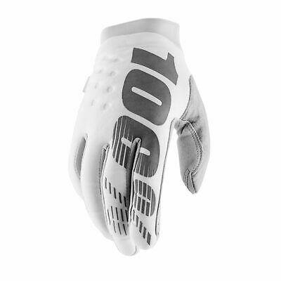 100% Brisker Warm MX Motocross Gloves Cold Weather Thermal Motorbike White Large
