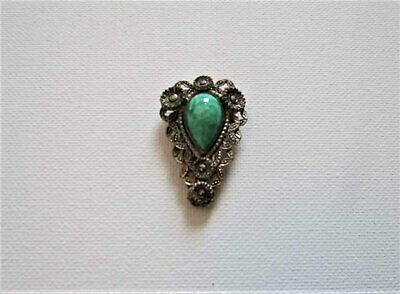 Vintage Art Deco Dress Clip With Green Glass and Marcasites