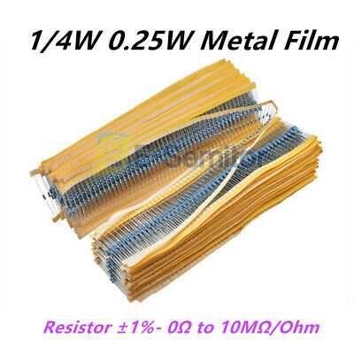 100PCS 1/4W 0.25W Resistor ±1%- Metal Film  Full Range of Values 0Ω to 10MΩ/Ohm