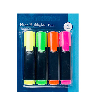 3Pc DOUBLE ENDED Neon Highlighter Marker Pen Chisel Tip Office//School Stationery