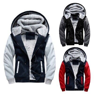 Men's Winter Thick Warm Hooded Jacket Wool Lining Casual Hoodie Coat Outwear AU