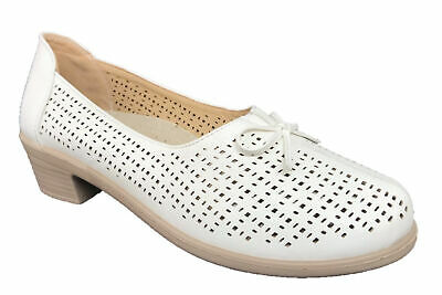 Ladies Slip On Leather Insole Lightweight Comfort Shoe Low Heel White Size 6-9