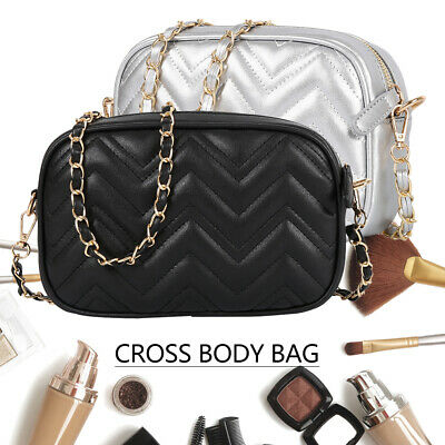 Women Ladies Shoulder Quilted Handbag Gold Chain Faux Leather Cross Body Bag CA
