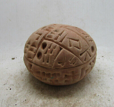 Circa 3000-2000Bce Ancient Near Eastern Spherical Clay Tablet