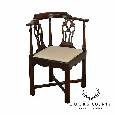Hickory Chair Chippendale Style Solid Mahogany Corner Armchair