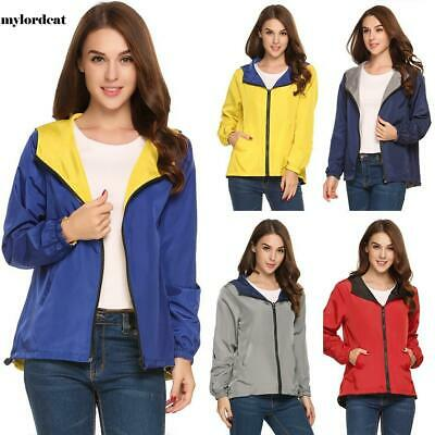 New Women Casual Hooded Long Sleeve Solid Two Sides Wear Coat Jacket M0DC