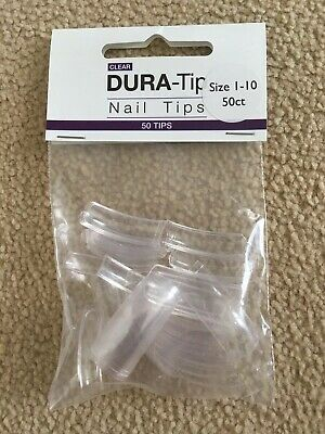 Nsi Dura-Tip 50 Nail Tips Packet New Unopened Sizes 1-10 In CLEAR