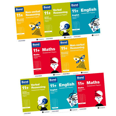 Bond 11+:Assessment Papers Year 5-7,8 Books Collection Set English,Maths,Verbal