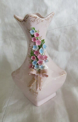 "Vintage Lefton China Vase Pink Shabby Chic 5.5"" Applied Flowers Bow Gold Flecked"