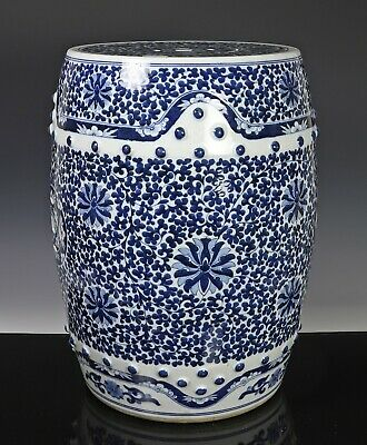 Old Chinese Porcelain Blue and White Barrel Form Garden Seat