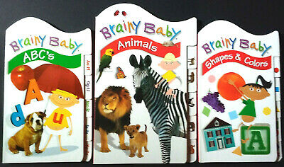 BRAINY BABY ~ABC's, ANIMALS, SHAPES & COLORS BOARD BOOK SET~
