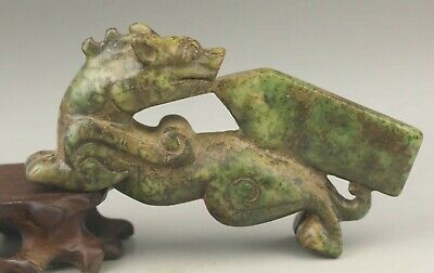 Chinese old natural jade hand-carved dragon statue 4 inch