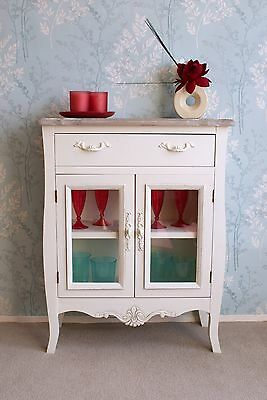 Devon Cream Painted Glass Door Sideboard in Shabby Chic Attractive French Style