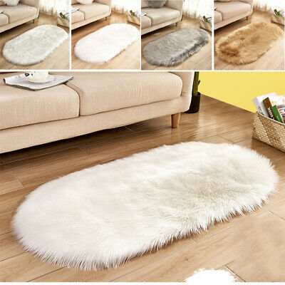 Oval Fluffy  Multicolor Shaggy Rugs Soft Furry Thick Non Shed Living Room Rug