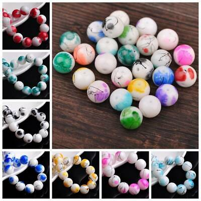 Wholesale 20Pcs 12mm Spots Coated Opaque Round Glass Loose Beads Jewelry Finding