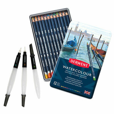Derwent Professional Watercolour Pencils 12 Tin Set with Pack of 3 Water Brushes
